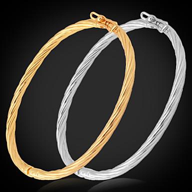Buy U7® Simple Design Bangles Women / Men 18K Real Gold Platinum Plated Bracelets Bangle