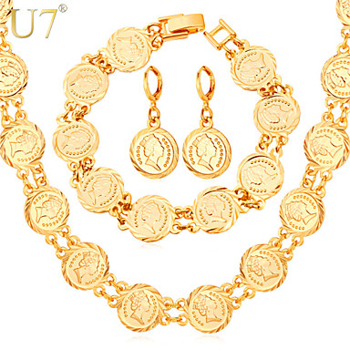 Buy U7® Women's Vintage European Queen Jewelry Coins Drop Earrings Fashion 18K Gold Plated Charm Bracelets Necklaces Sets