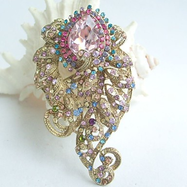 3.15 Inch Gold-tone Multicolor Rhinestone Crystal Flower Brooch Pendant Brooc...