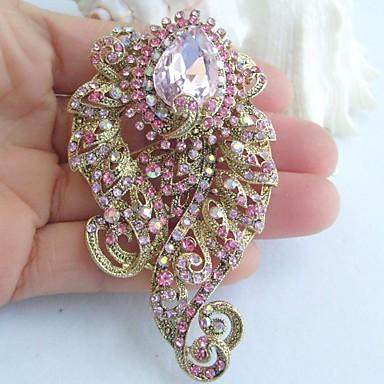 3.15 Inch Gold-tone Pink Rhinestone Crystal Flower Brooch Pendant Brooch Bouquet