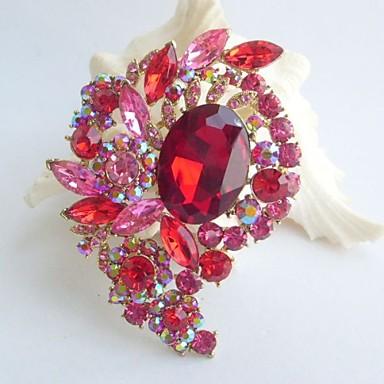 3.15 Inch Gold-tone Pink Red Rhinestone Crystal Flower Brooch Pendant Art Deco