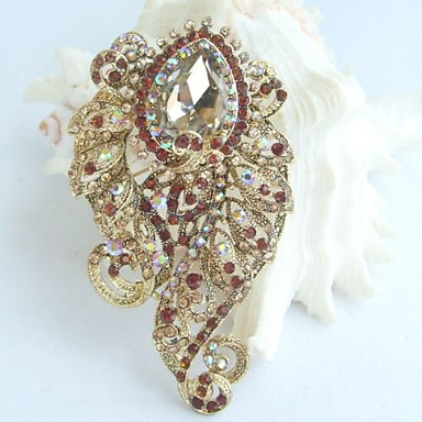 3.15 Inch Gold-tone Topaz Rhinestone Crystal Flower Brooch Pendant Brooch Bou...