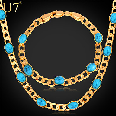 Buy U7® Women's Turkish Jewelry Sets 18K Gold Plated Cuban Link Chian Turquoise New Fashion Chain Necklace Bracelet Set