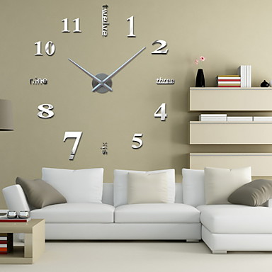 Buy Uermerstar 39 inchW DIY 3D Mirror Large Numbers Acrylic Sticker Wall Clocks Art Modern Style