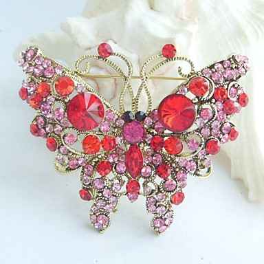 2.56 Inch Gold-tone Red Rhinestone Crystal Butterfly Brooch Pendant Art Deco