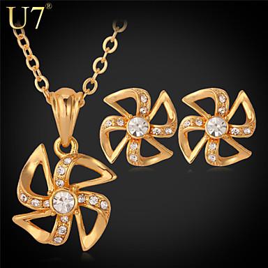 Buy U7® Women's Windmill Earrings Clear Rhinestone Crystal Fashion Jewelry Set Platinum/Gold Plated Pendant Necklace