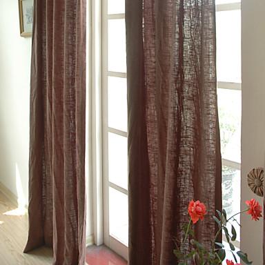 To paneler lin bomull solide panel soverom gardiner gardiner brun ...