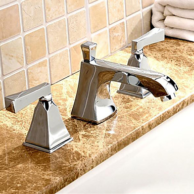 Three Hole Bathroom Sink Faucet : Widespread Two Handles Three Holes in Chrome Bathroom Sink Faucet ...