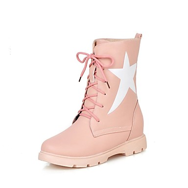 women's shoes low heel platform/combat boots/round toe