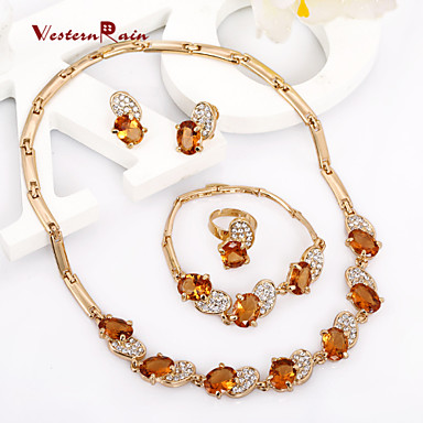 Westernrain charming lady gold plated jewelry elegant for Costume jewelry for evening gowns