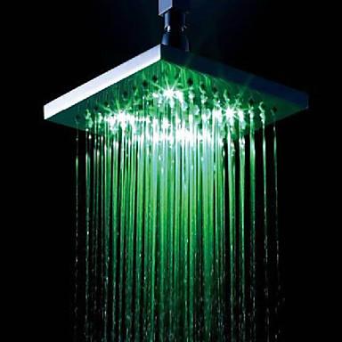 8 Inch Chrome Temperature Control Heat Sensor LED Shower Head Rain Shower 442