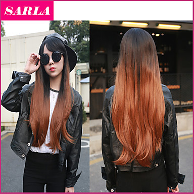 Buy 1PC Long Kanekalon Hair Wigs Free Gift Cap U Part Wig Natural Heat Resistant 2 Tones Synthetic Ombre