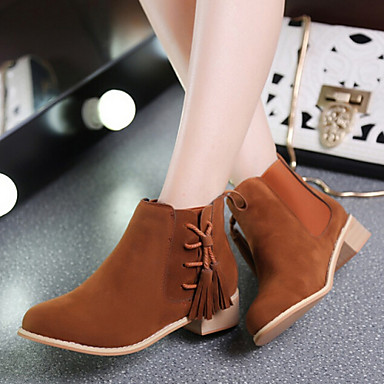 Women 39 s shoes korean style frosted tassels chunky heel comfort boots casual black brown red Korean fashion style shoes