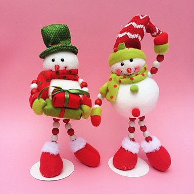 Buy 2pcs/set 35CM/13.7 inch Christmas Decoration Gift Santa Claus Snowman Doll Plush Toy New Year