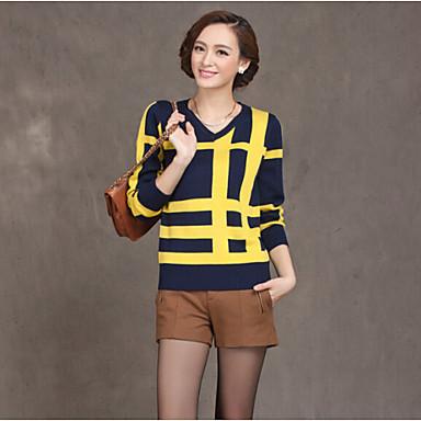 Women 39 s striped patchwork blue yellow beige t shirt for Womens yellow long sleeve shirt