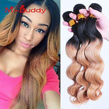 Buy 8 inch-30 inch Brazilian Virgin Hair Color 1B27 Body Wave Ombre Human hair Weaves