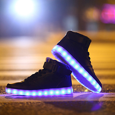 Buy LED Light Shoes, Running Shoes 2016 USB charging Best Seller High Top Basket Fashion Sneakers Black / White Red