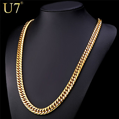 Buy U7® Men's Hip Hop Gold Chain Stainless Steel Jewelry 18K Plated 28'' Long Thick Necklace
