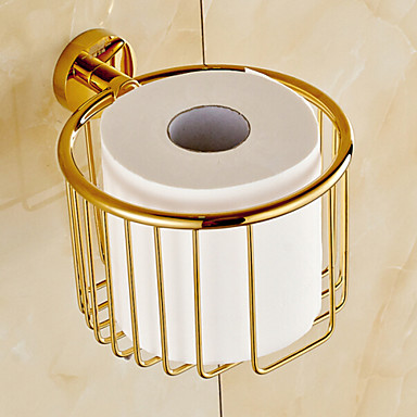 Gold bathroom accessories brass material toilet paper for Gold toilet accessories