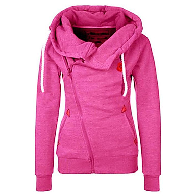 Women's Casual/Daily Simple Hoodie Jacket Solid Inelastic Polyester Long Sleeve Fall