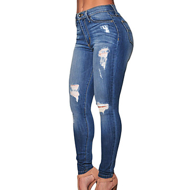 Women's Denim Destroyed Skinny Jeans