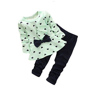 Girl Going out Print Sets,Cotton Fall / Spring Long Sleeve Clothing Set