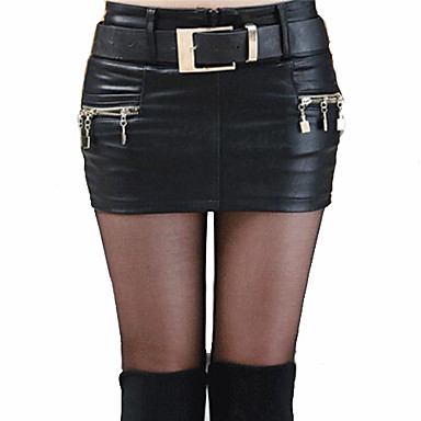 Women's Solid Black Skirt,Sexy Mini Zipper Design