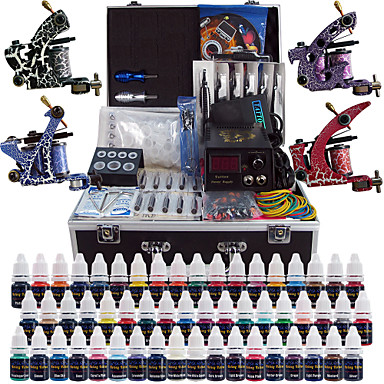 Solong tattoo complete tattoo kit 4 pro machines 54 inks for Full tattoo kit