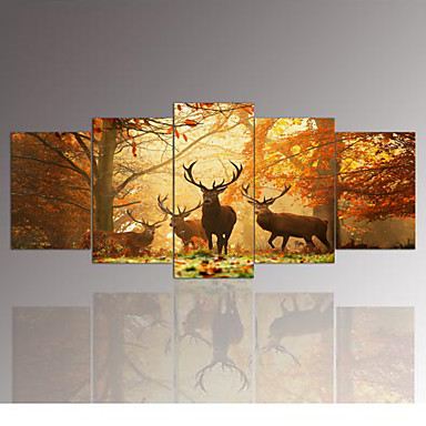 5 panel wall art the deer painting pictures print on canvas the picture for home modern. Black Bedroom Furniture Sets. Home Design Ideas