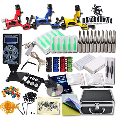 Buy Great Tattoo Kits 3 Rotary Machine New Design Power box 50 Needles Carrying Case LCD Supply 100 Ink Cups 1 Practice Skin