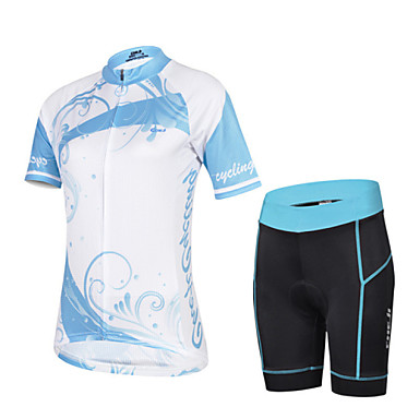 Buy CHEJI Women's Breathable Quick Dry Short Sleeve Cycling Jersey 3D Pad Shorts