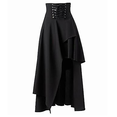 Women's Asymmetrical Solid Black Skirts,Sexy/Street chic Asymmetrical