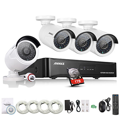 Buy Annke® New 4CH CCTV NVR System POE 1080P Video Ourput 1080p Weatherproof IP Camera Security 1TB