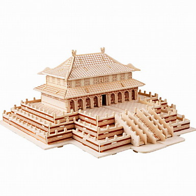Buy Jigsaw Puzzles 3D / Wooden Building Blocks DIY Toys Chinese Architecture Wood Beige Model & Toy