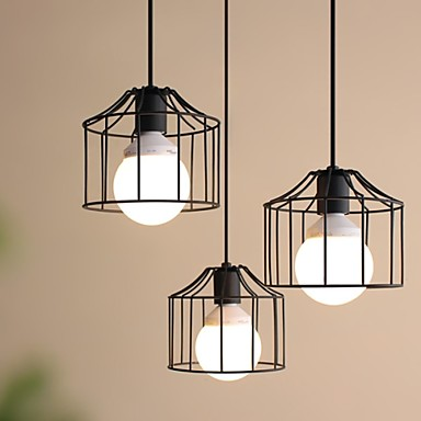 1 Lights Max 60W Country Metal Pendant Lights Living Room Bedroom Dining