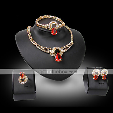 Buy Lucky Doll Vintage Diamond 18K Gold Plated Crystal Rhinestone Necklace & Earrings Bracelet Ring Party Jewelry Sets