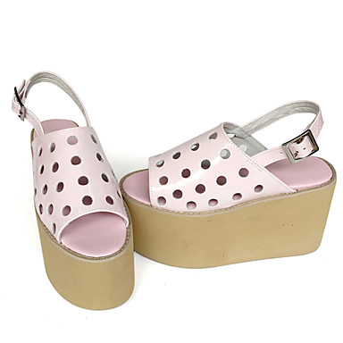 Buy Handmade Punk Lolita Leather 8 Wedge Pink Shoes