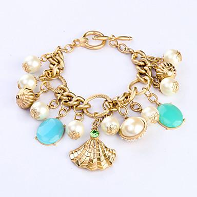 Buy Vintage European Fashion Alloy Pearl Shell Charm Bracelet 1pc