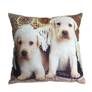 3D Design Pint Two Dogs Decorative Throw Pillow Case Cushion Cover for Sofa Home Decor Polyester ...