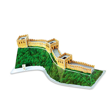 Buy Jigsaw Puzzles 3D Building Blocks DIY Toys Chinese Architecture Paper Yellow / Green Model & Toy