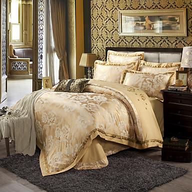 Beige Queen King Size Bedding Set Luxury Silk Cotton Blend