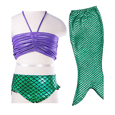2016 New 3pcs/Set Kid Girls Mermaid Tail Bikini Set Swimsuit with Purple Top&Green Tail Fancy Bathing Costume for 3-8Y