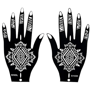 2pcs henna airbrush black stencil tattoo temporary tattoo for Henna temporary tattoo stencils