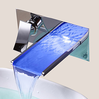 Buy Bathroom Sink Faucet Color Changing LED Waterfall (Wall Mount)