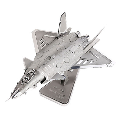 Buy Jigsaw Puzzles 3D / Metal Building Blocks DIY Toys Aircraft Silver Model & Toy