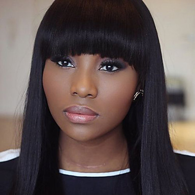 Buy Stock 10-30inch Bob Silk Straight Bangs Lace Front Wigs 100% Brazilian Virgin Human Hair U Part Wig Women
