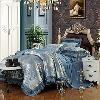 Silver Blue Queen King Size Bedding Set Luxury Silk Cotton