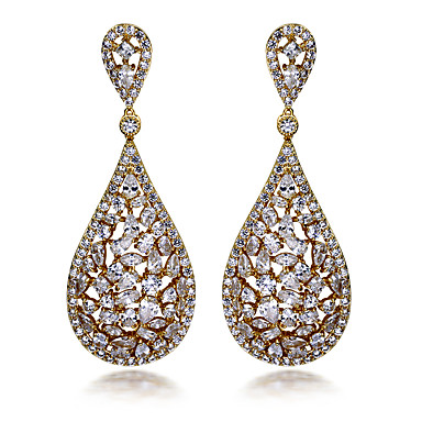 Buy Earring AAA Cubic Zirconia Oval Drop Earrings Jewelry Women Fashion Wedding / Party Daily Casual N/ACubic Copper Gold