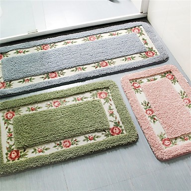 country style polyester bath rugs 17 quot by 29 quot floral