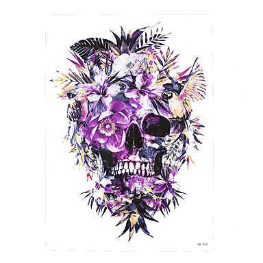 1pc waterproof fake temporary tattoo sticker purple flower death skull body shoulder art tattoo. Black Bedroom Furniture Sets. Home Design Ideas